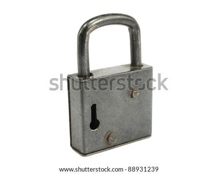 old black padlock on a white background - stock photo