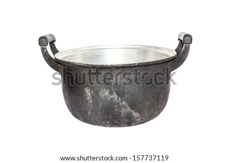 Old black pot on a white background. - stock photo