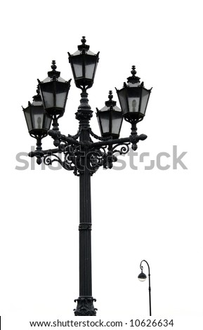 old black street lamp isolated on white - stock photo