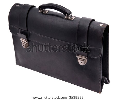 old black suitcase isolated on white background