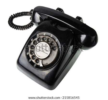 old black telephone isolate on white background - stock photo