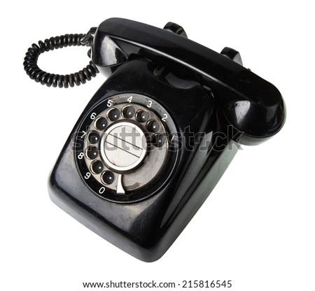old black telephone isolate on white background - stock photo