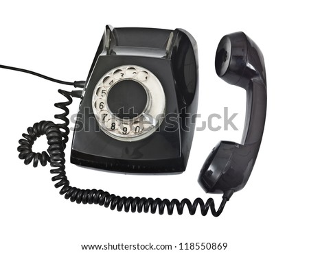 old black telephone isolated on white background - stock photo