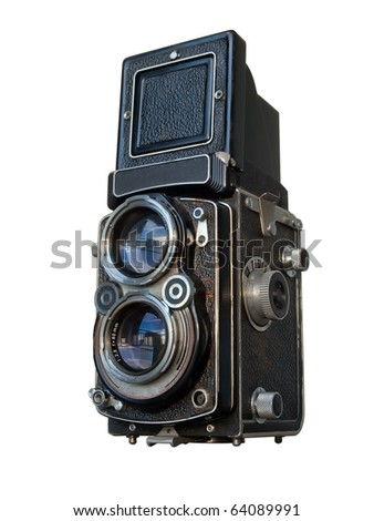 Old black Twin lens reflex camera isolated on white - stock photo