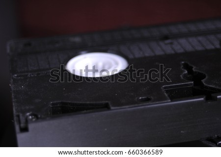 Old black videotapes on the table