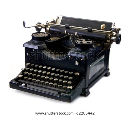 Old black vintage typewriter on a white background - stock photo