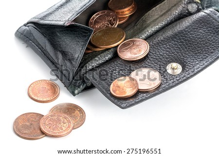 old black wallet from leather with some euro copper coins, close up isolated on white background - stock photo