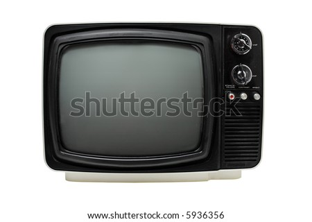 "Old 12"" black & white portable television, dusty and dirty. Isolated on white."