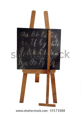Old Blackboard and Ruler isolated with clipping path - stock photo