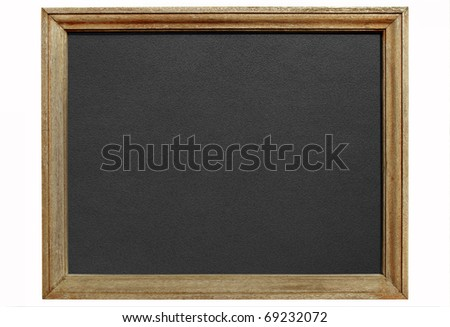 Old blackboard with wooden frame isolated white background. - stock photo