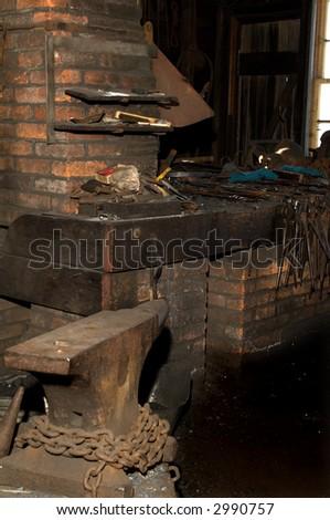 Old Blacksmith shop. - stock photo