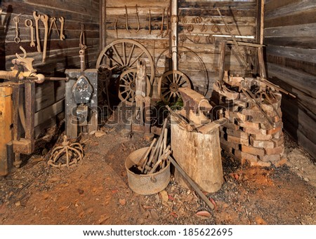 old blacksmith shop at Hillend Australia - stock photo