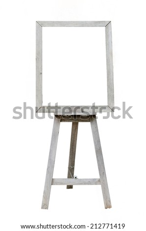 Old  Blank art wood board, wooden easel, front view, isolated on white background