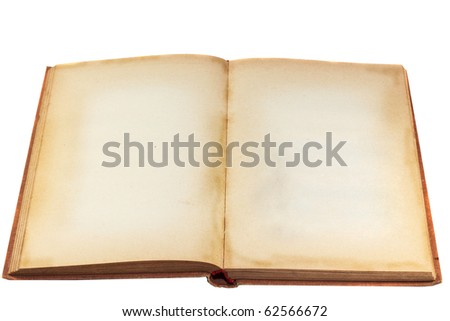 Old blank book isolated on white - stock photo