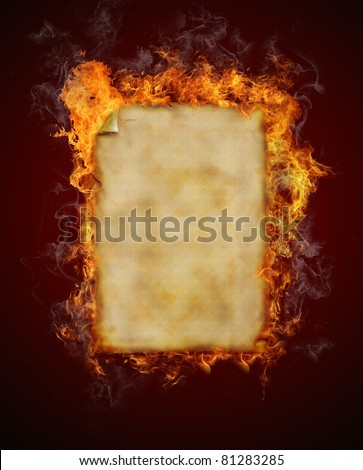 Old blank burning paper - stock photo