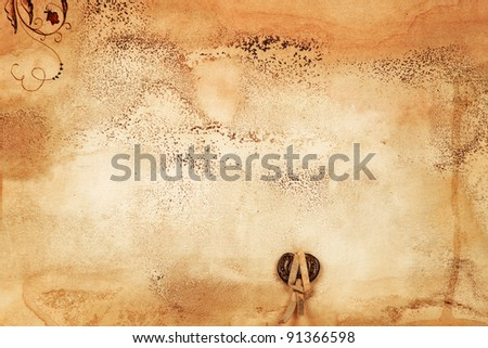 old blank manuscript with stamp - stock photo