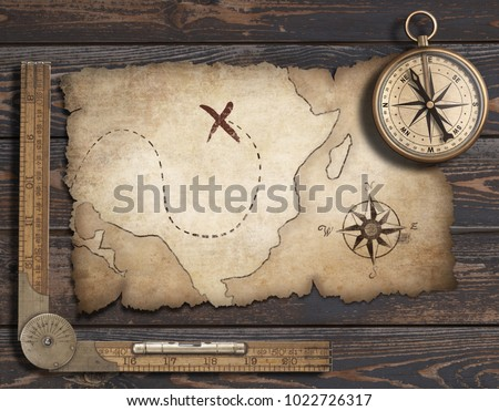 Old Blank Map Background With Compass Adventure And Travel Concept 3d Illustration