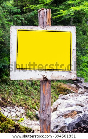 old blank metal sign with space for text - stock photo