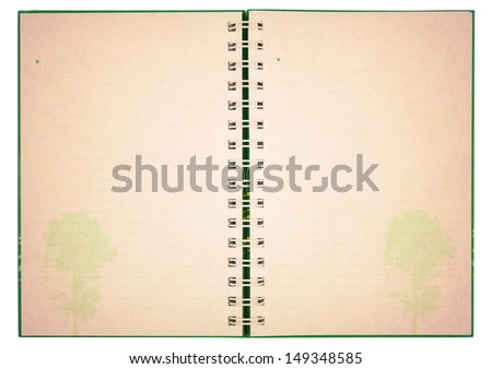 old blank notebook with tree image on white, included clipping path