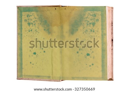 Old blank open book isolated on white background. Very textured green pages, ready to be filled with text and images. - stock photo