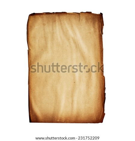 old blank page from ancient book isolated on white - stock photo