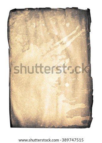 old blank page with ink splash from ancient book isolated on white - stock photo