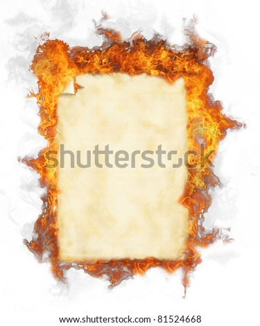 Old blank paper in fire, isolated on white background - stock photo