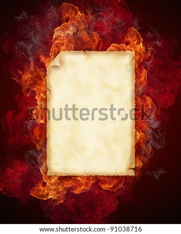 Old blank paper in flames