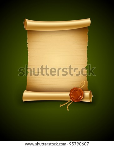old blank paper script background with stamp - rasterized vector illustration
