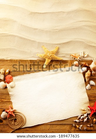 Old blank paper with seashells and grunge wooden planks. Concept of summer holidays on beach. - stock photo