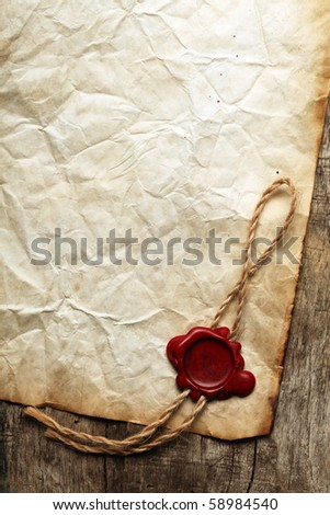Old blank paper with was seal - stock photo