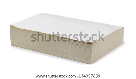 Old blank paperback book isolated on white - stock photo