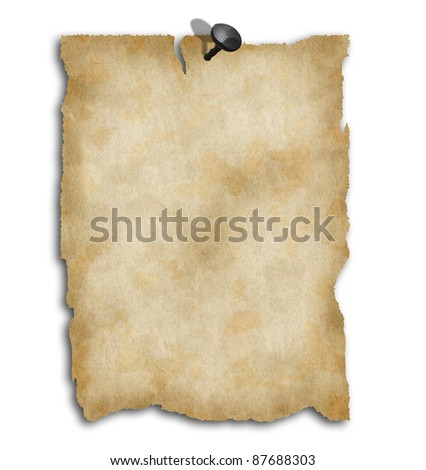 Old blank papers on white background - stock photo