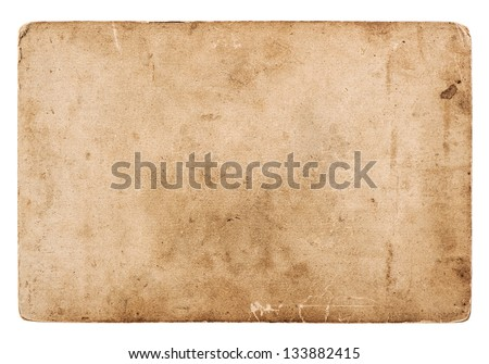 old blank photo card isolated on white. vintage grunge paper background - stock photo