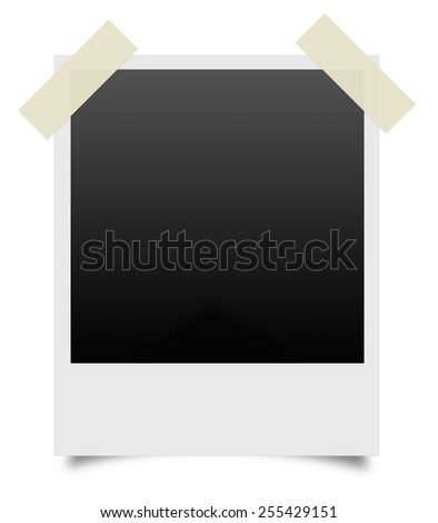 old blank photos with scotch tape on a white background  - stock photo