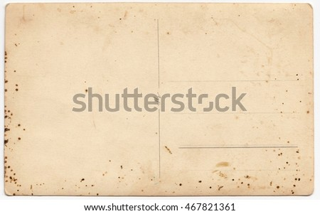 Old blank post card isolated on a white background