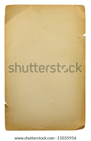 old blank sheet of paper isolated on white background - stock photo