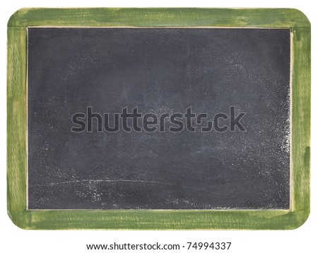 old blank slate blackboard with white chalk dust and texture, green wood frame - stock photo