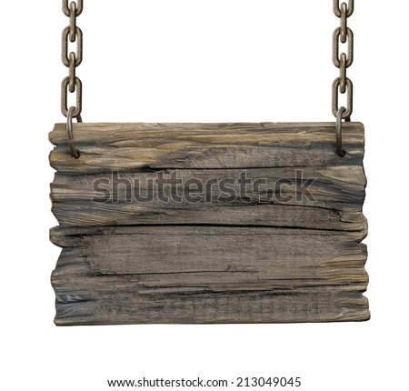 old blank tavern medieval wooden signboard isolated - stock photo