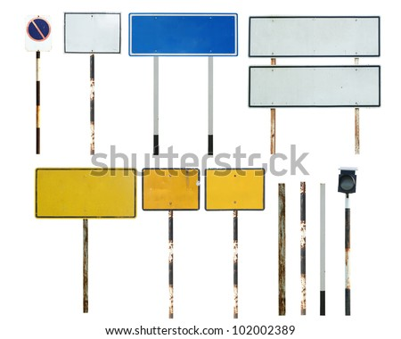 Old blank traffic sign collections - stock photo