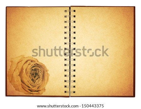 old blank white rose notebook for take notes, included clipping path