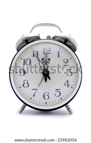 Old blue alarm clock on a white background