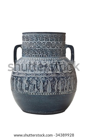old blue and beautifully decorated greek vase isolated on white - stock photo