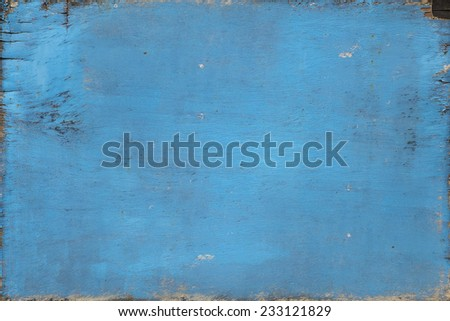 old blue paint weathered no frame wood board texture background - stock photo
