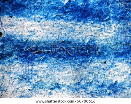 Old blue painted wall covered with clay - stock photo