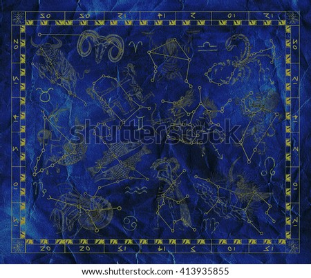 Old blue placard with Zodiac signs and constellations. Line art with hand drawn horoscope signs in grunge style. Vintage mystic and astrology illustration with texture background - stock photo