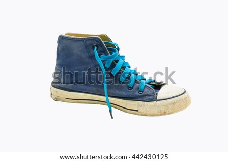 Old Blue sneaker isolated on white background.