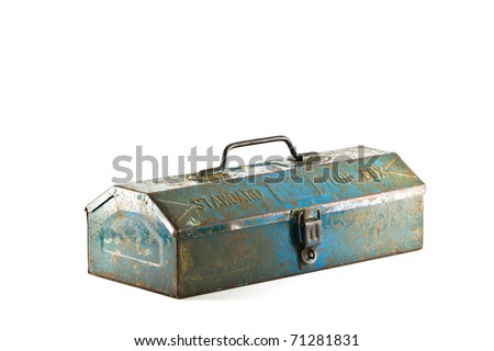 Old Blue toolbox - isolated on white background. - stock photo