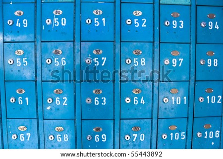 old blue vintage mail boxes - stock photo