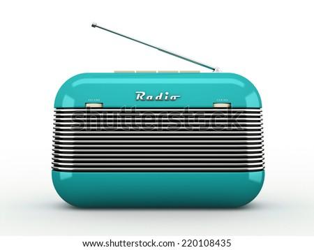 Old blue vintage retro style radio receiver isolated on white background - stock photo